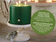 Chalet Candle Holder and 3-Wick Pillar Candle. #PartyLiteCanada