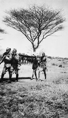 THE CAMPAIGN IN GERMAN EAST AFRICA DURING THE FIRST WORLD WAR. Stretcher bearers of the 3rd Battalion, King's African Rifles, Longido, September 1915. At this time, the KAR was still a relatively small force. The British were yet to follow the German example in appreciating that locally recruited Africans would prove to be the most reliable soldiers in this theatre of battle.