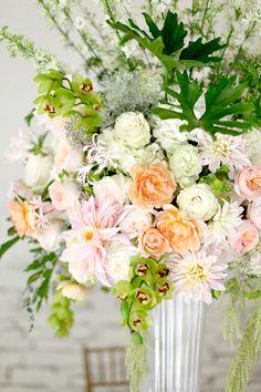 Tablescape with Achillea 'Apple Blossom