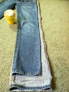 Turn bootcut jeans into skinny jeans. I've been needing to do this so bad!
