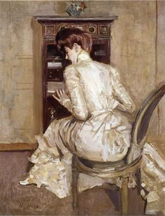 Madame Paul Helleu Seated at Her Secretaire, Seen from the Back  Paul César Helleu