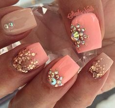 Peach and gold mani.