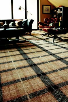 Axminster Carpets - Natural Plaid in Cormorant Plaid Living Room, Living Room Carpet, Tartan Carpet, Axminster Carpets, Floor Finishes, Colour Schemes, Lounge, House Design, Flooring