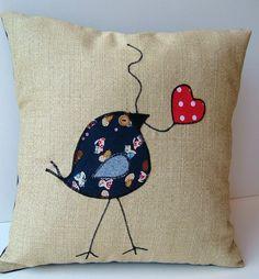Tweet Appliqued Bird & Heart Leaf Pillow by TheTweetFactory, $24.00