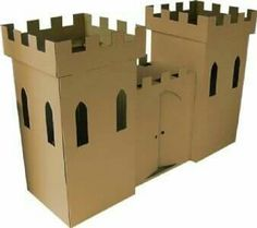 Cardboard Castle Playhouse by Kid-Eco Cardboard Toys -Wood Thats Good Cardboard Box Castle, Castle Playhouse, Cardboard Playhouse, Playhouse Plans, Cardboard Crafts, Cardboard Furniture, Cardboard Animals, Cardboard Paper, Chateau Fort Moyen Age
