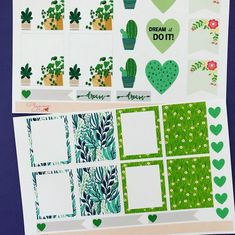 Planner stickers sheets measure two sticker sheets includes, total planner stickers in package is Planner sticker note squares measure Heart planner stickers measure Floral flag/tab planner stickers measure Heart flag sticker measure Calendar Stickers, Journal Stickers, Planner Stickers, New Green, Green Plants, Sticker Paper, Bee, Handmade Items, Notes