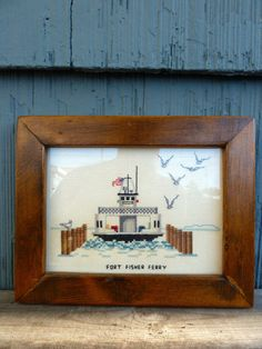 Fort Fisher Ferry framed crewel needlepoint North by OatesGeneral