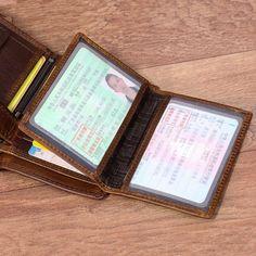 b655a9b439f89 Vintage Genuine Leather 13 Card Slots Driver License Tri-fold Wallet For Men