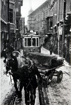 ara güler tramvay at arabası fotoğraf