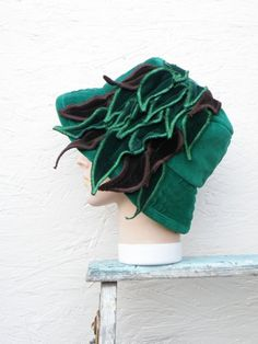 Green Velvet Leaf Hat by P8Accessories on Etsy, €29.00