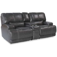 Charcoal Leather Power Recline Loveseat