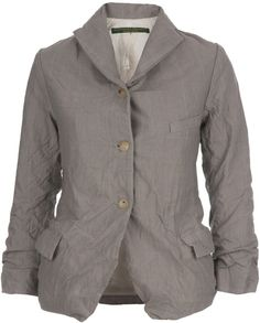 PAUL HARNDEN Gray Buttoned Jacket Grey wool jacket from Paul Harnden with three quarter length sleeves, flap pockets, notched lapels and a front button fastening.