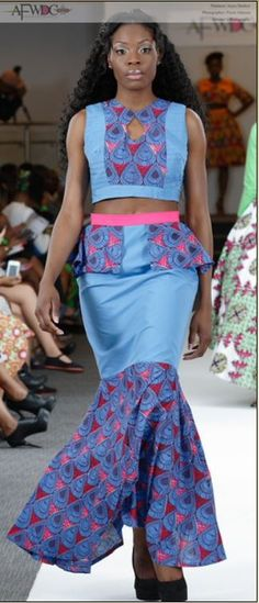#Mermaid - Ocean Blue - #Africanfashion - #WaxPrint - #Peplum - #Pleating - Kranto Kolection at African Fashion Week DC