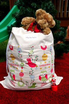 Beautiful Hand Made Santa Sack - Christmas Owl design. $33.95, via Etsy.