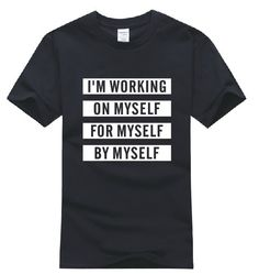 Find More T-Shirts Information about I'M WORKING ON MYSELF FOR MYSELF BY MYSELF letter Printed S XXXL Plus size punk Women men cotton casual t shirt HOT SALE BB9006,High Quality shirt flannel,China shirts office Suppliers, Cheap shirt t from I-mart (Drop Shipping) on Aliexpress.com