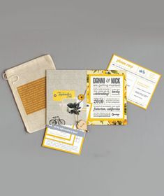 wedding invitation: put pieces of the invitation in a drawstring bag that reads the couple's story on the outside