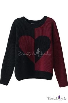 Color Block Heart Pattern Long Sleeve Sweater with Round Neckline