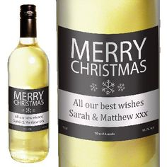 Merry Christmas Personalised Label White Wine