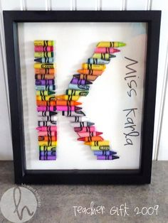 color crayon initial - cute for baby or kid gift