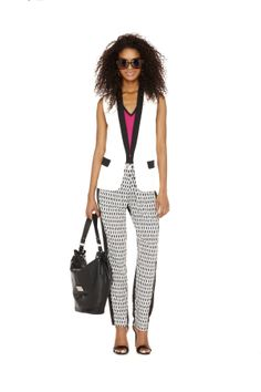 #comingsoon #springpreview nicole by Nicole Miller White Vest and printed pant