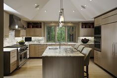 Contrasting Sleek - contemporary - kitchen - chicago - Susan Fredman Design Group like stain color