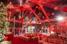 Kris Jenner's 2015 Christmas Eve Party. The theme was 'Candy Cane Lane'. They covered the pool and put up two tents.