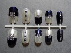 Navy Blue and Shimmery White with Sapphire Blue and White Rhinestones, Japanese-Inspired Nail Set, S$23.00