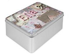 Personalised gift box, Tin Box, pink, ballerina, vintage tin box, decorated box, birthday box, baby gift, best friend keepsake, storage box