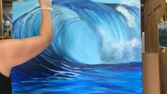 Painting Of Water, Acrylic Wave Painting, Acrylic Art Paintings, Surfing Painting, Wave Paintings, Beach Canvas Paintings, Ocean Wave Painting, Watercolor Wave, Ocean Art