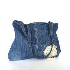 Bolso de vaqueros reciclados - bolso del dril de algodón reciclado, bolso de jean azul, Jean hombro monedero, bolso de hombro, regalo vegano, bolso de jean reciclado