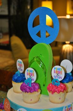 Peace, Love, and Flip flops.  Cute for a summer birthday beach theme with hearts and peace signs
