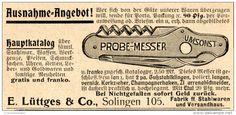 Original-Werbung/ Anzeige 1907 - TASCHENMESSER / LÜTTGES SOLINGEN - Ca. 85 X 40 Mm - Werbung