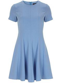 Blue crepe skater dress - Dresses  - Clothing - Dorothy Perkins