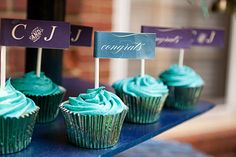 Cupcakes Ideas We Love Wedding Cakes Photos on WeddingWire Turquoise Cupcakes, Teal Cupcakes, Wedding Cakes With Cupcakes, Cupcake Flags, Cupcake Party, Cupcake Cakes, Cupcake Ideas, Cupcake Recipes, Engagement Party Cupcakes