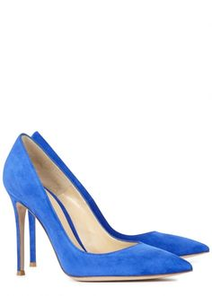 Put a twist on the everyday court shoe with this electric blue pair from Gianvito Rossi. Available at Harvey Nichols.