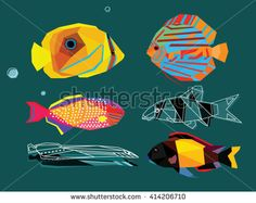 Fish set colorful low poly design isolated on dark blue background.