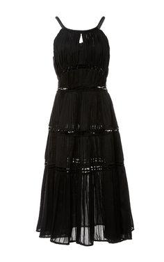 ZAC POSEN Ruched Cotton Tiered Dress