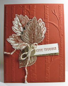 Fall is only days away - Thanks - Autumn - SU - Vintage Leaves' stamp set, Woodland Textured EF - inspired by Debra Currier (by Barb Mann)