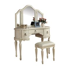 Acme White Trini Vanity With Stool And Mirror 90024 – Makeup Vanity Boutique