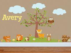 Animal Wall Decals - Nursery Wall Decals - Animal Theme Nursery - Tree Wall Decal - Owl Nursery Decor - Forest Theme Nursery - Name Decal