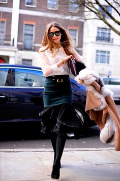 Olivia Palermo at LFW wearing Westward Leaning Wintermute sunglasses