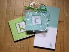 monogrammed and covered notepads