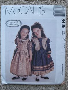 UNCUT Girls Dress, Jumper and Vest - Size 4 to 6 - McCalls Pattern 8426