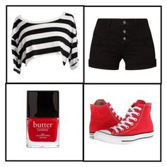 """""""Untitled #29"""" by kajo999 ❤ liked on Polyvore featuring even&odd, Butter London and Converse"""