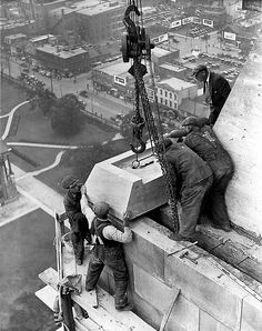 Raising last stone to top of Canada Life Building in Toronto, Ontario, Canada. T… Raising last stone to top of. Commercial Architecture, Historical Architecture, Queen Street West, Toronto Photography, Toronto Ontario Canada, Toronto Travel, Canadian History, Downtown Toronto, Photoshop