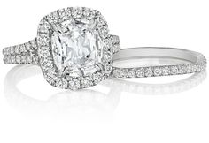 Henri Daussi diamond halo engagement ring