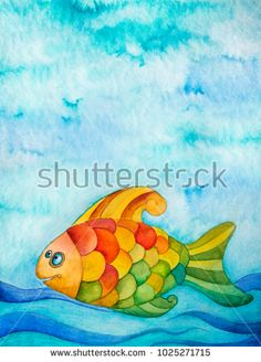 Watercolor illustration of colorful fish in water