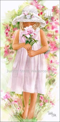 PEONY PRINCESS Girl  Watercolor by steinwatercolor