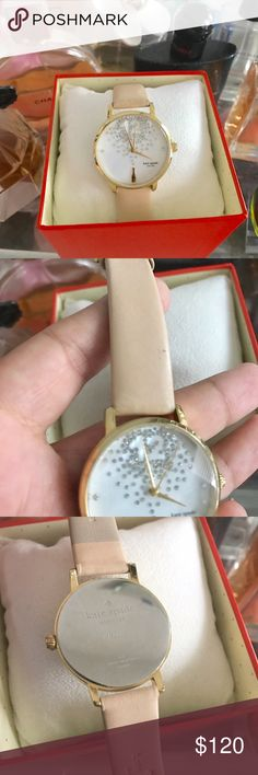 """Kate Spade watch Pre-loved """"Champagne at midnight"""" metro watch. Gold plated metal with creamy nude leather strap. Mother of pearl dial. 3atm water resistance. Some minor discoloration on side of straps and near buckle. kate spade Accessories Watches"""