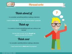 Three new phrasal verbs with THINK Think about/of – to consider something before making a decision;Think up – to create or invent something such as a story or an excuse;Think over – to consider carefully before making a decision